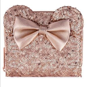 Minnie Mouse Sequined Wallet x Loungefly Rose Gold